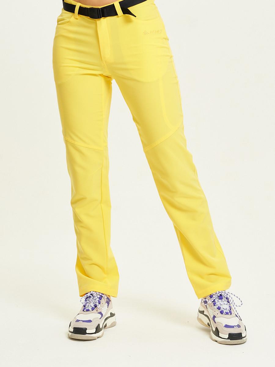Купить оптом Спортивные брюки Valianly женские желтого цвета 33419J в Екатеринбурге