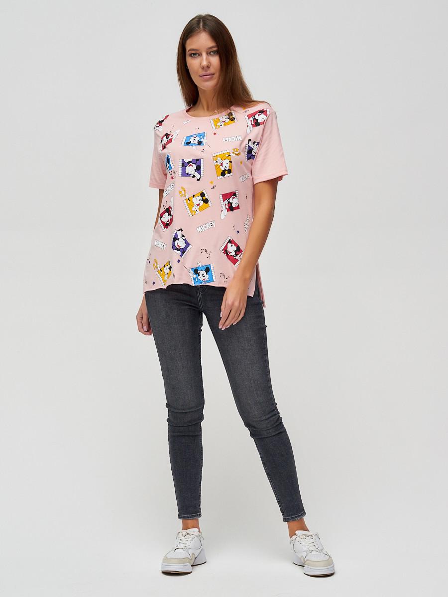 Купить оптом Женские футболки с принтом розового цвета 34004R в Екатеринбурге
