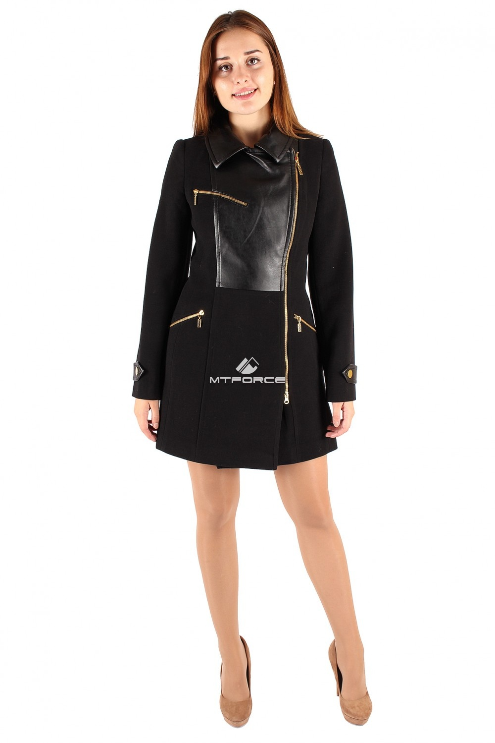 Купить                                  оптом Пальто женское черного цвета 355Ch в Санкт-Петербурге