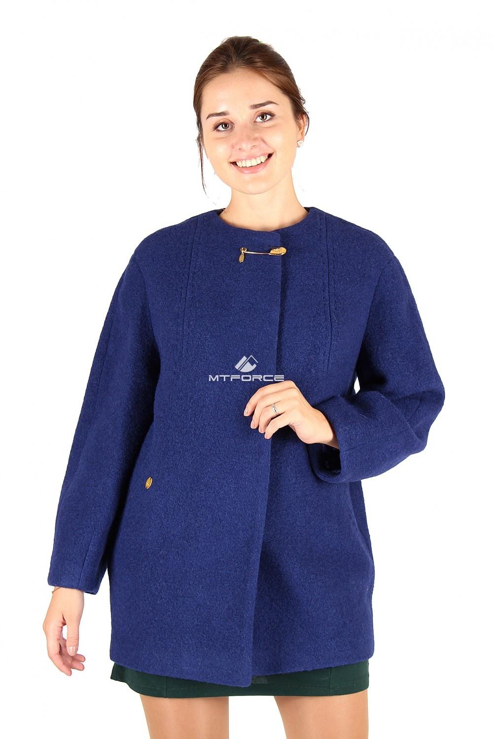 Купить                                  оптом Полупальто женское синего цвета 358-1S в Санкт-Петербурге