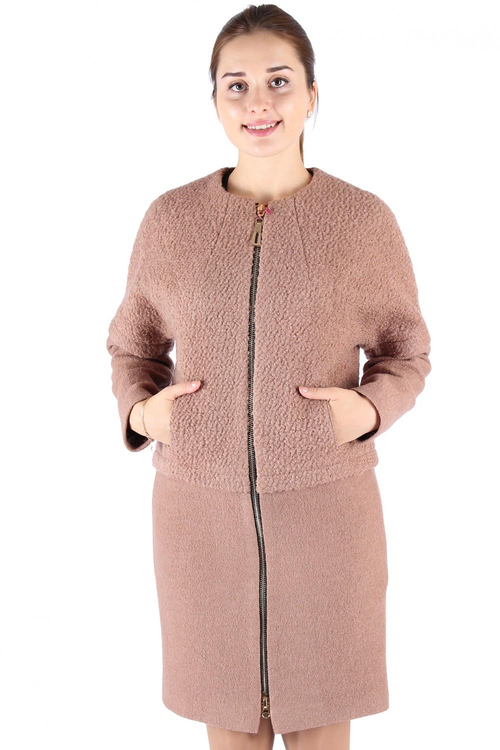 Купить оптом Пальто женское бежевого цвета 373B в Уфе