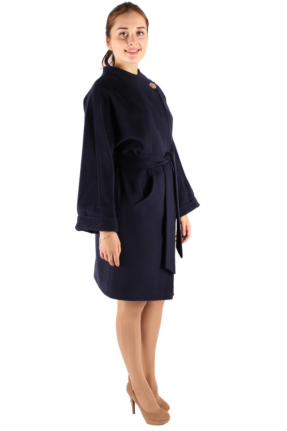 Купить оптом Пальто женское темно-синего цвета 380TS в Омске