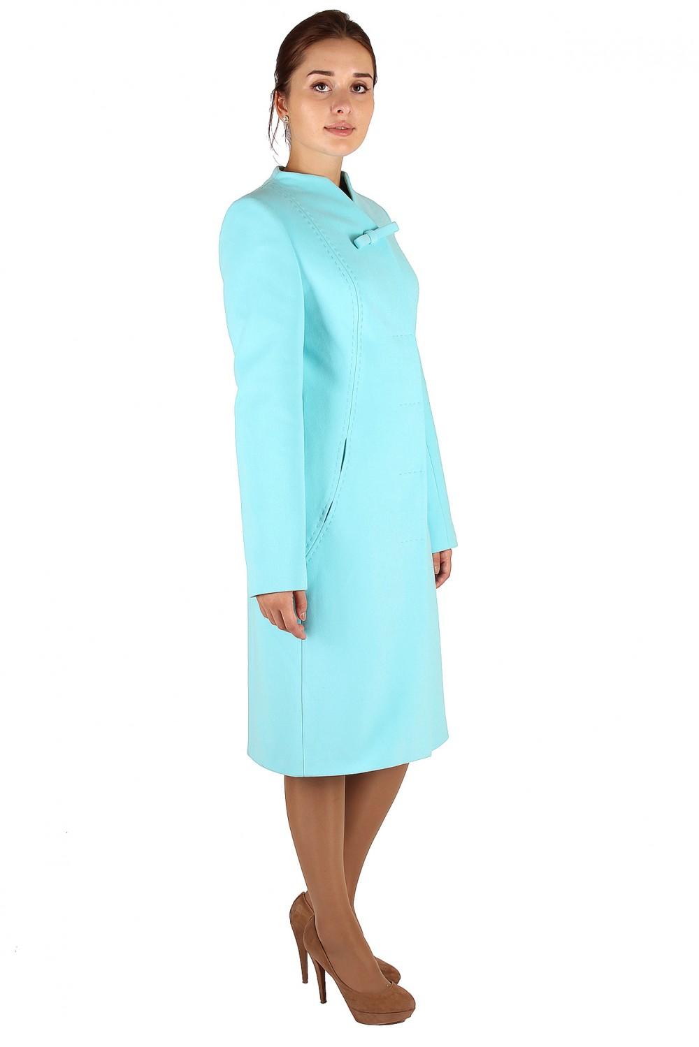Купить оптом Пальто женское голубого цвета 391Gl в Казани