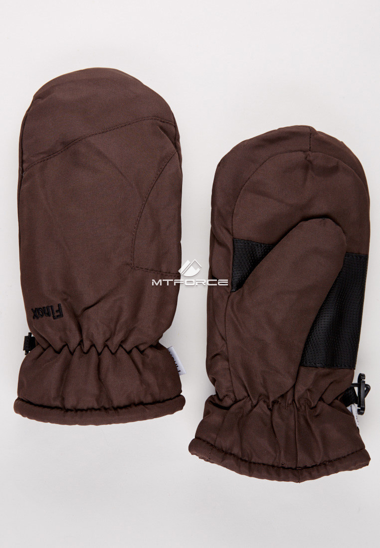 Купить оптом Рукавицы зимние подростковые коричневого цвета 399K