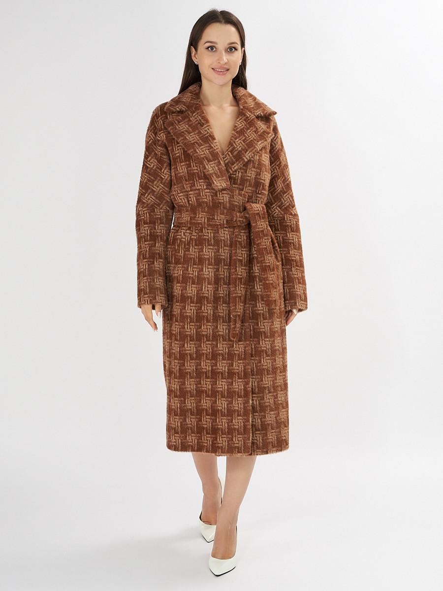 Купить оптом Пальто демисезонное коричневого цвета 4002K в Екатеринбурге