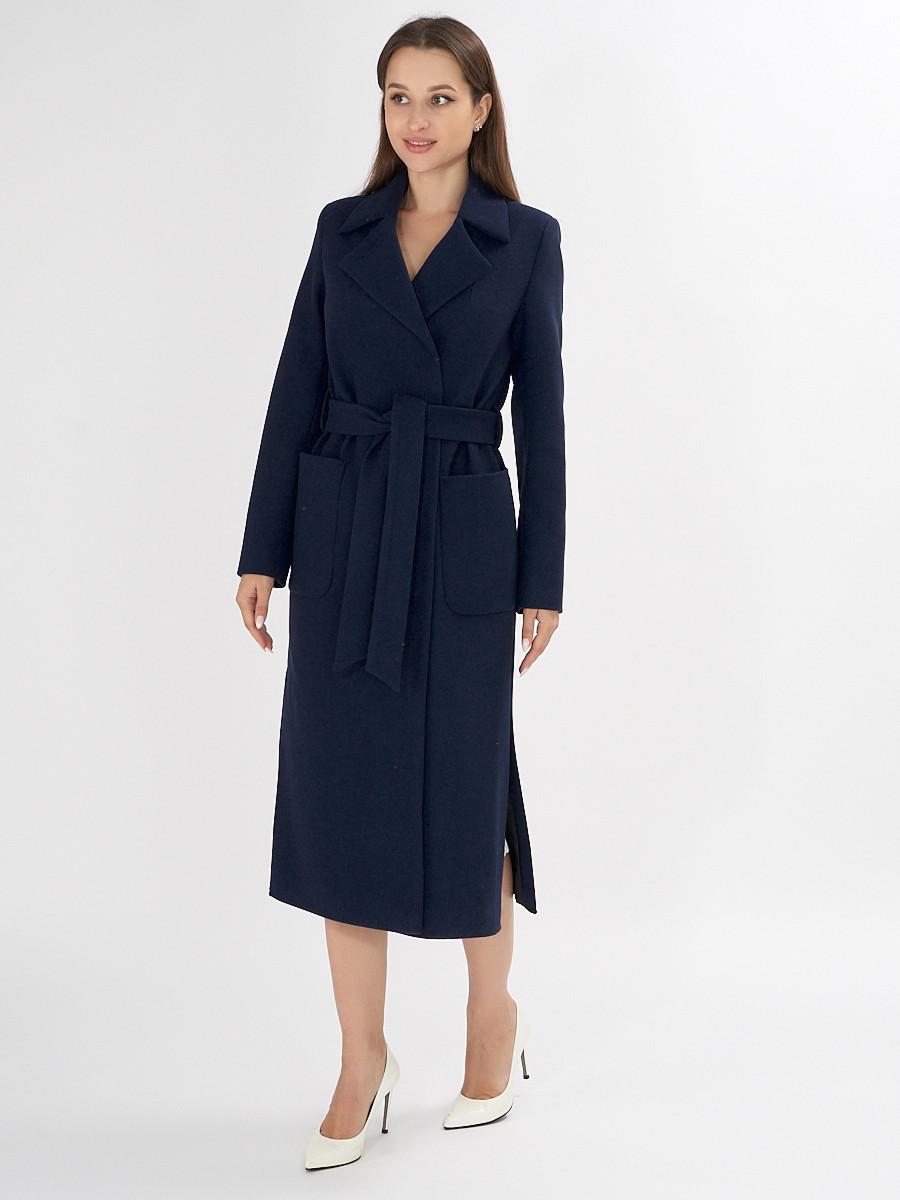Купить оптом Пальто демисезонное темно-синего цвета 4057TS в Екатеринбурге