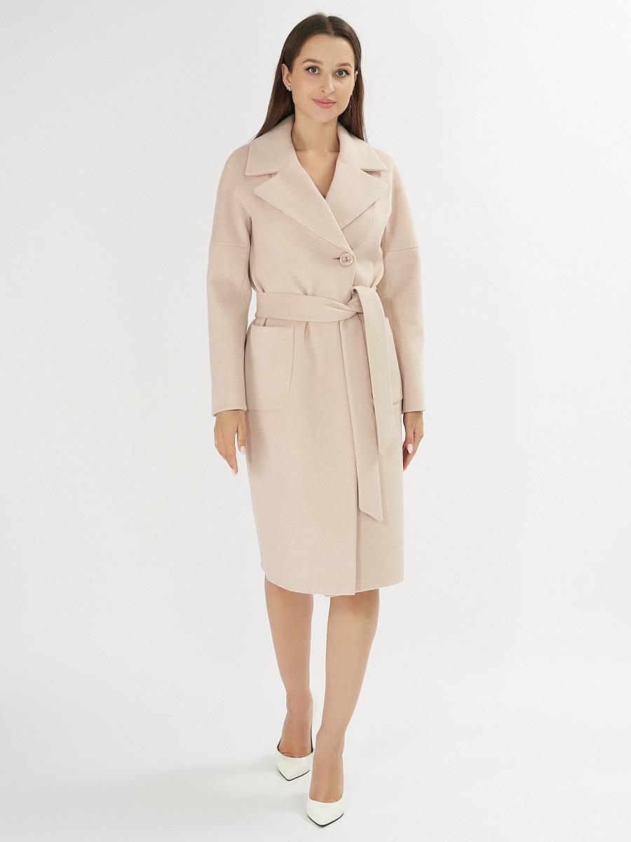 Купить оптом Пальто демисезонное бежевого цвета 41712B в Екатеринбурге