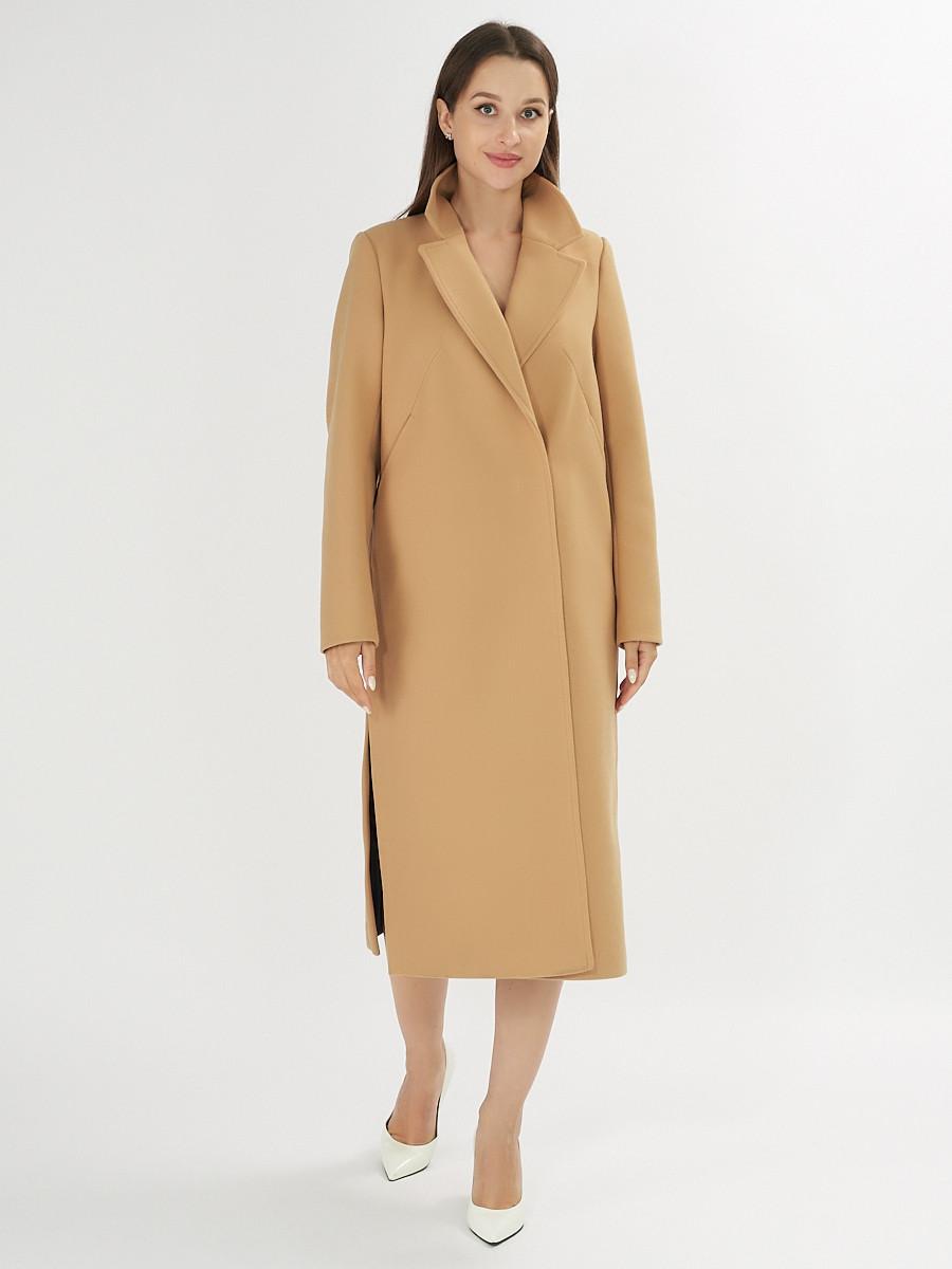 Купить оптом Пальто демисезонное горчичного цвета 42105G в Екатеринбурге