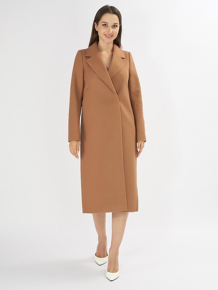 Купить оптом Пальто демисезонное коричневого цвета 42105K в Екатеринбурге