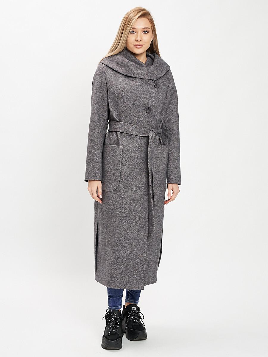 Купить оптом Пальто демисезонное серого цвета 42107Sr в Екатеринбурге