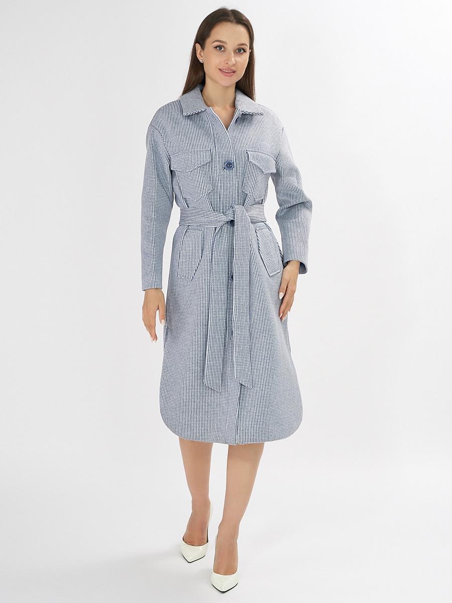 Купить оптом Пальто демисезонное синего цвета 42112S в Екатеринбурге