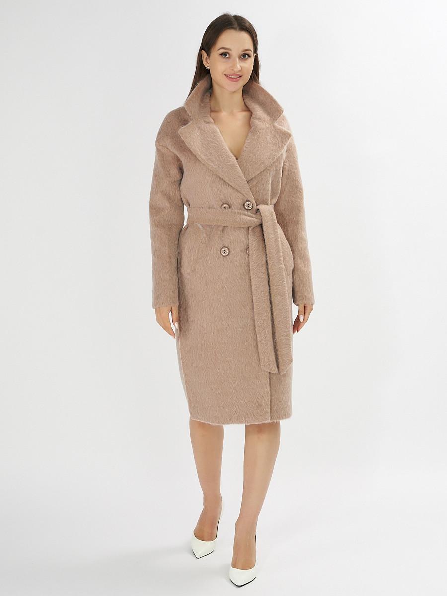 Купить оптом Пальто демисезонное бежевого цвета 42114B в Екатеринбурге