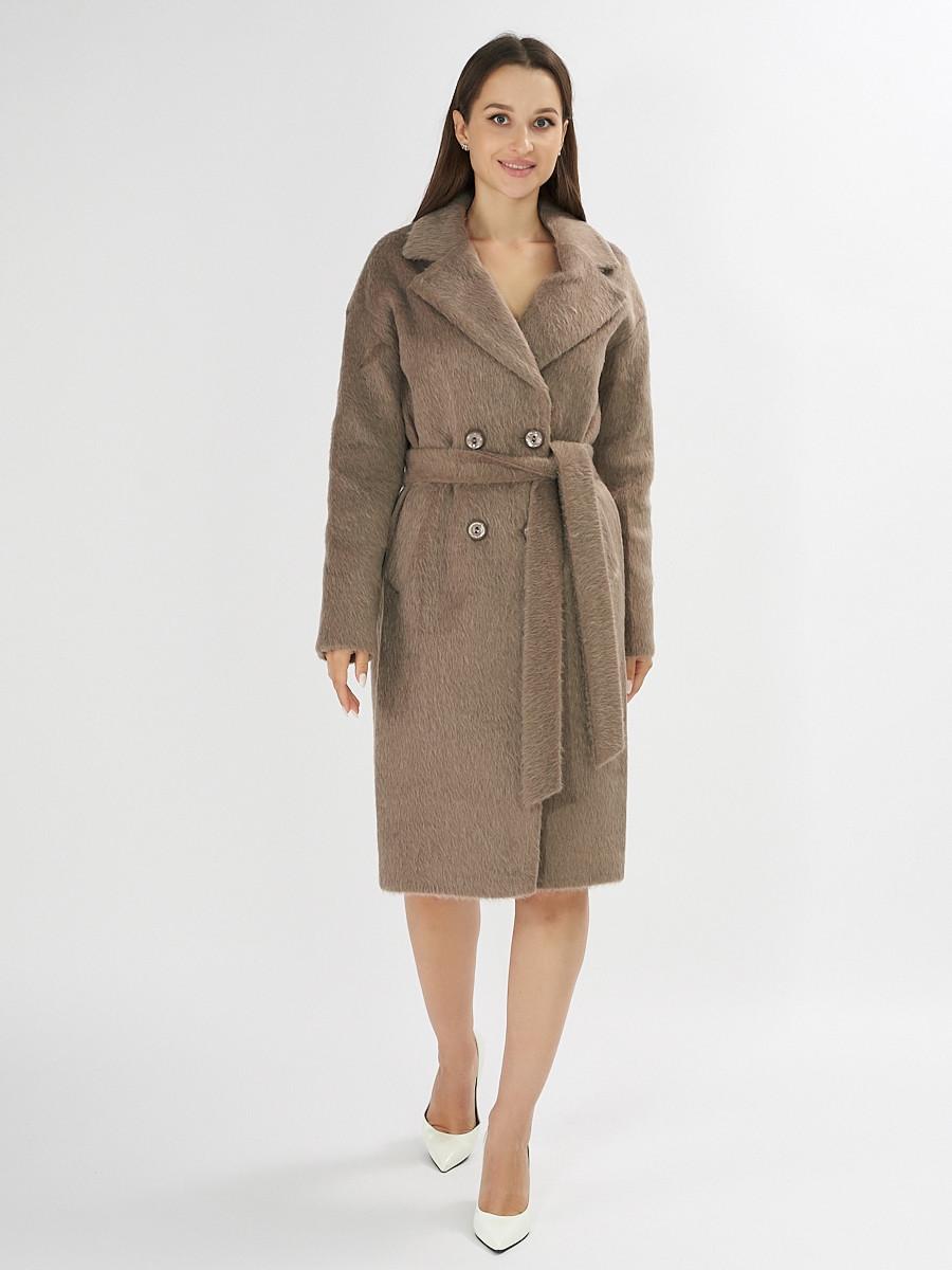 Купить оптом Пальто демисезонное коричневого цвета 42114K в Екатеринбурге