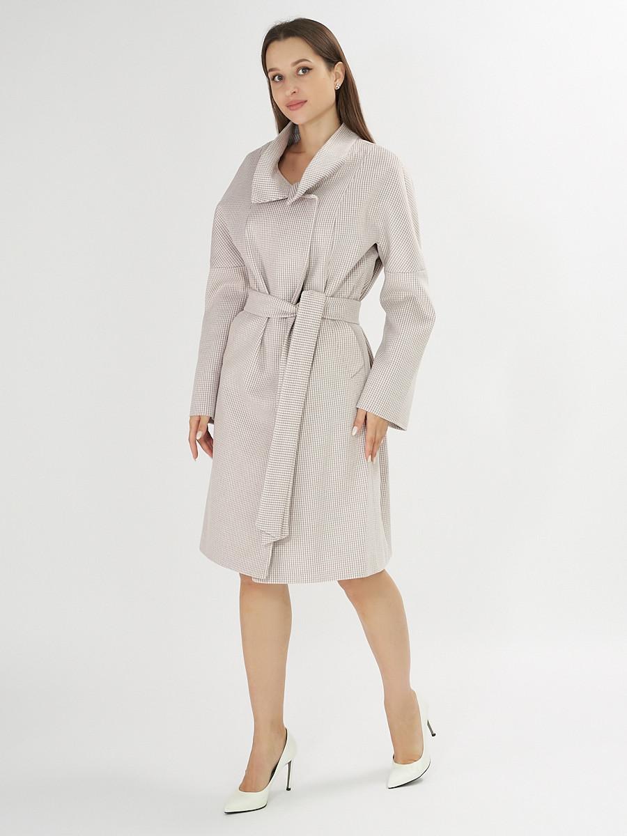 Купить оптом Пальто демисезонное бежевого цвета 42115B в Екатеринбурге