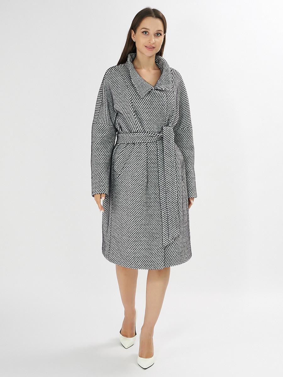 Купить оптом Пальто демисезонное серого цвета 42115Sr в Екатеринбурге