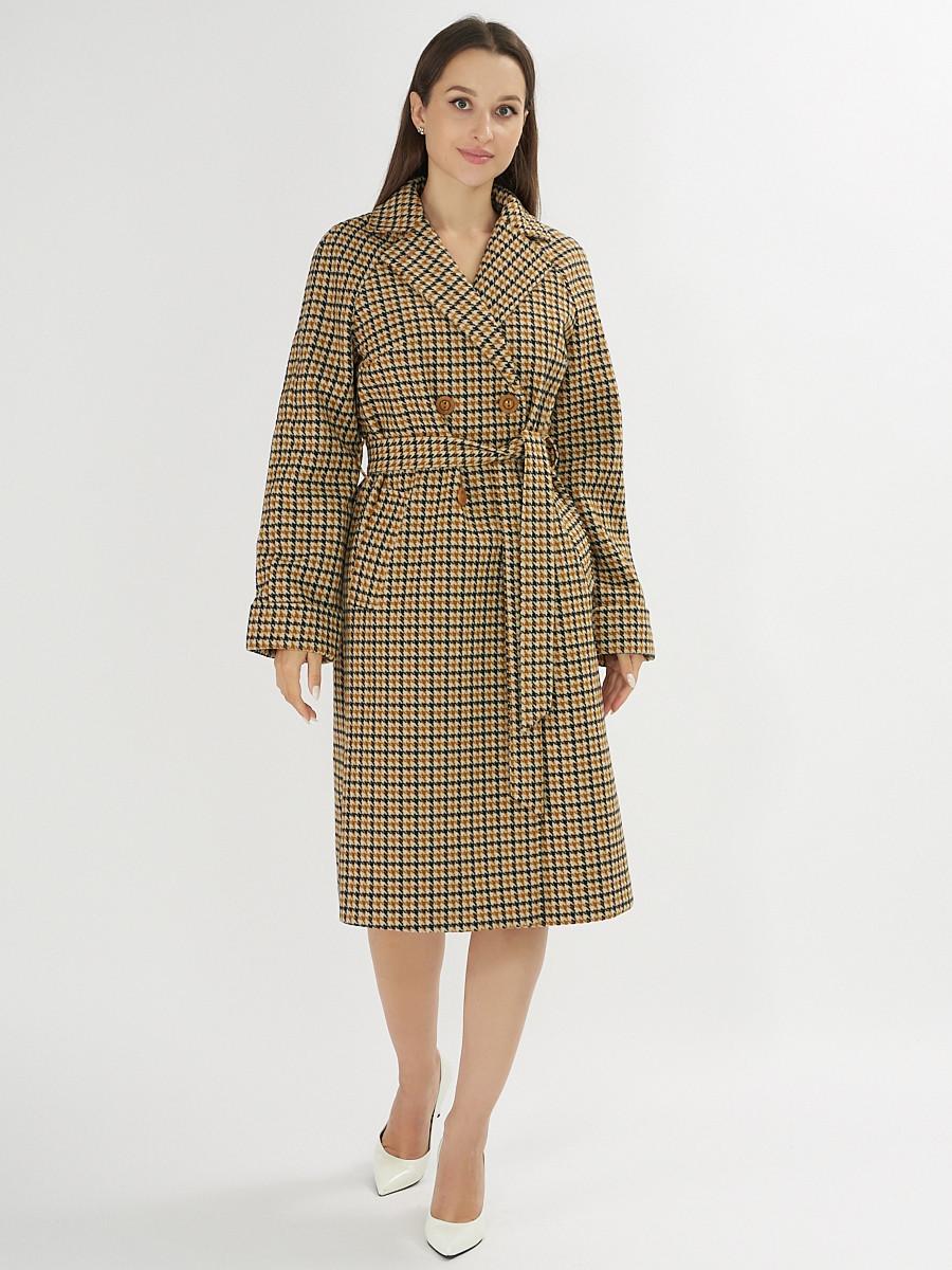 Купить оптом Пальто демисезонное горчичного цвета 42121-1G в Екатеринбурге