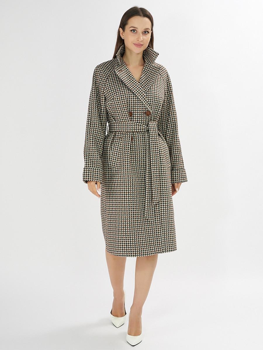 Купить оптом Пальто демисезонное коричневого цвета 42121-1K в Екатеринбурге