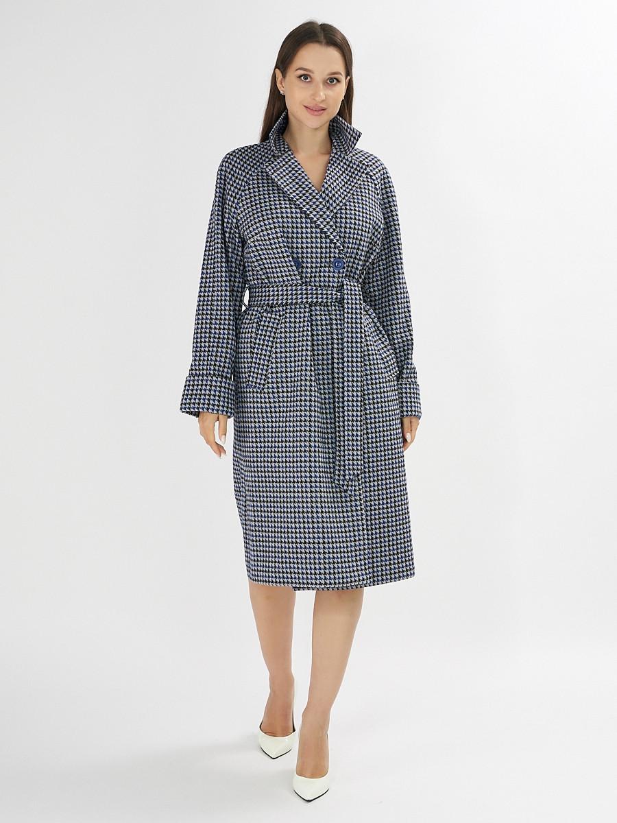 Купить оптом Пальто демисезонное синего цвета 42121-1S в Екатеринбурге