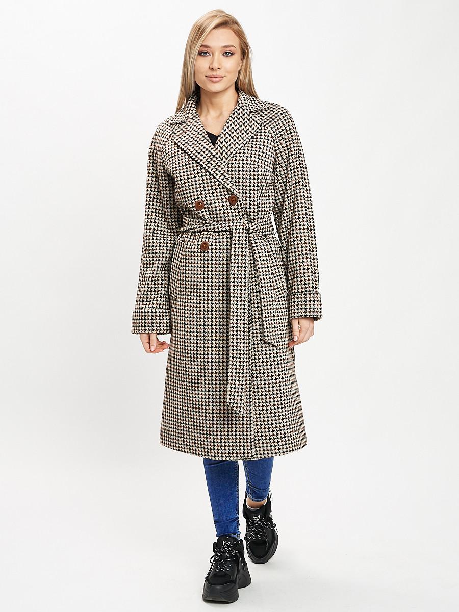 Купить оптом Пальто демисезонное серого цвета 42121-1Sr в Екатеринбурге