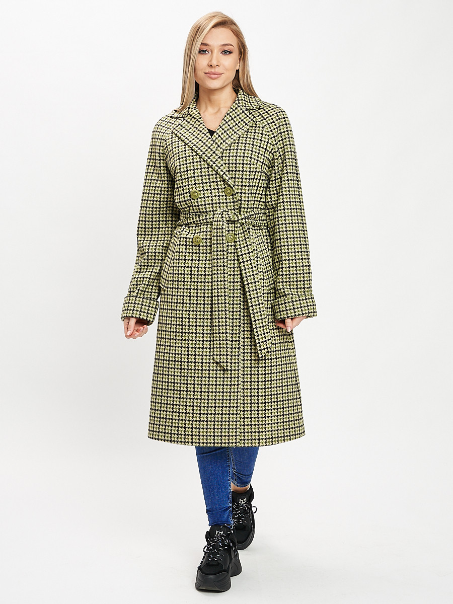 Купить оптом Пальто демисезонное зеленого цвета 42121-1Z в Екатеринбурге