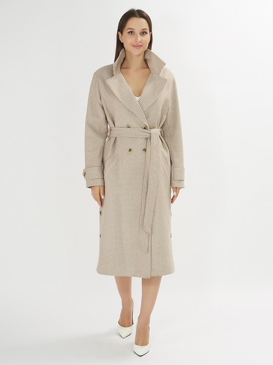 Купить оптом Пальто демисезонное бежевого цвета 42121B в Екатеринбурге