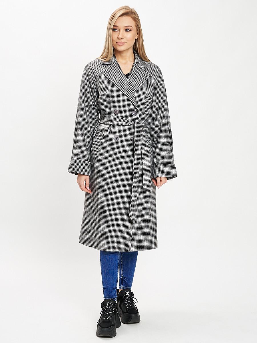 Купить оптом Пальто демисезонное серого цвета 42121Sr в Екатеринбурге