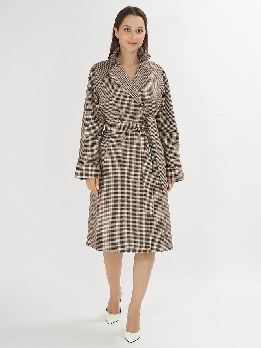 Купить оптом Пальто демисезонное темно-коричневого цвета 42121TK в Екатеринбурге