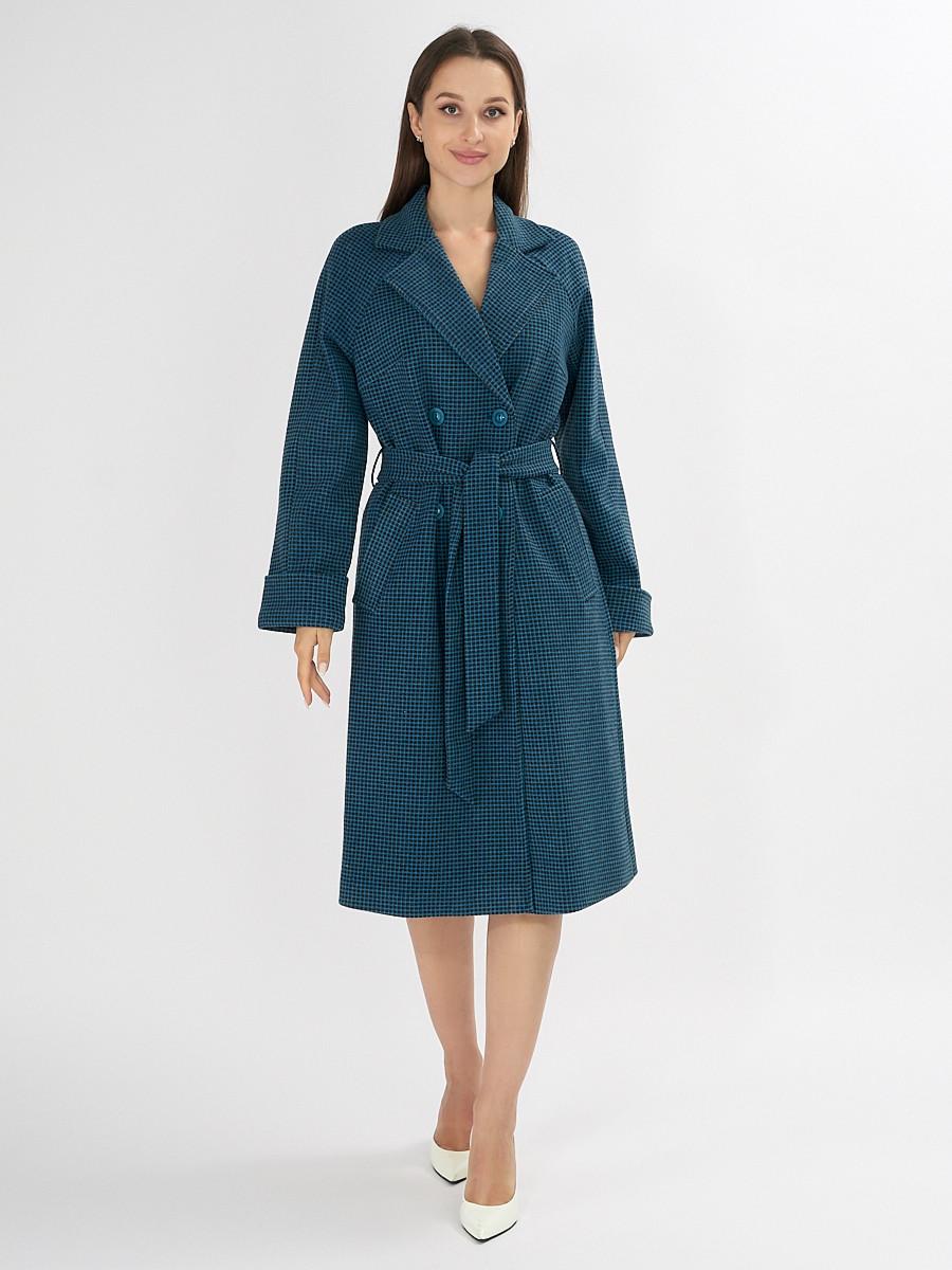 Купить оптом Пальто демисезонное темно-синего цвета 42121TS в Екатеринбурге