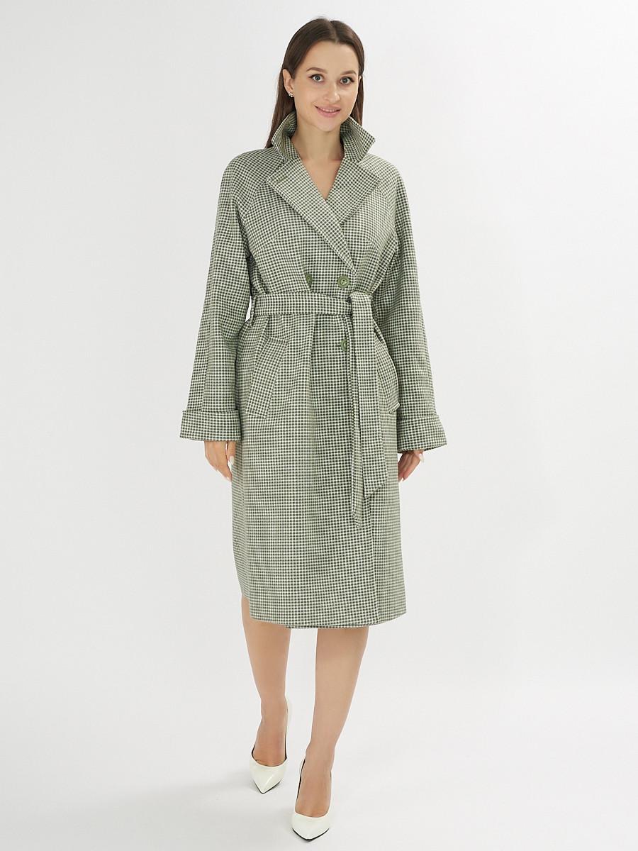 Купить оптом Пальто демисезонное зеленого цвета 42121Z в Екатеринбурге