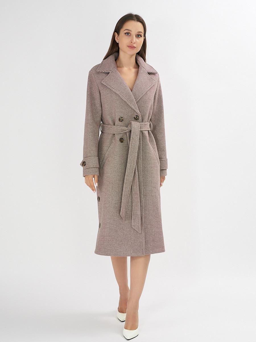 Купить оптом Пальто демисезонное бежевого цвета 42122B в Екатеринбурге