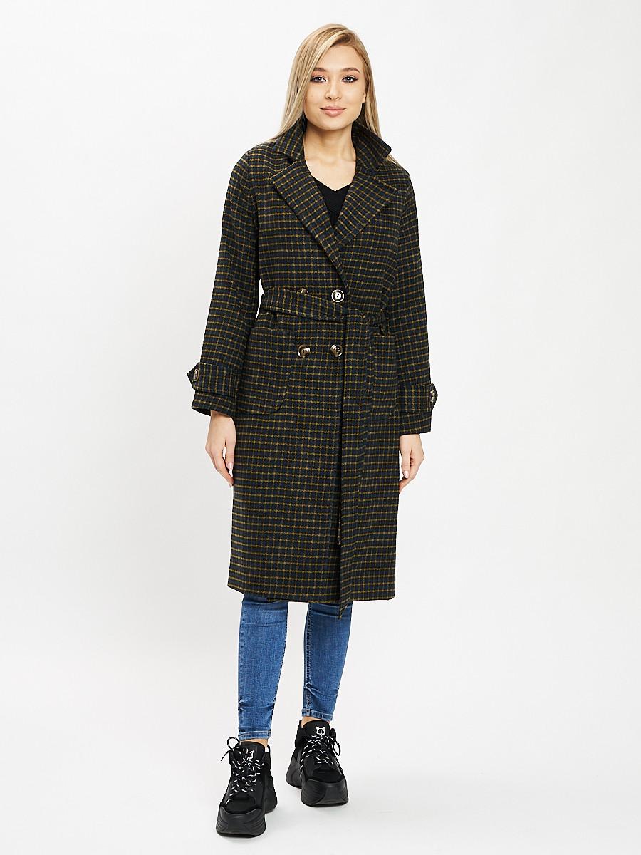 Купить оптом Пальто демисезонное цвета хаки 42123Kh в Екатеринбурге