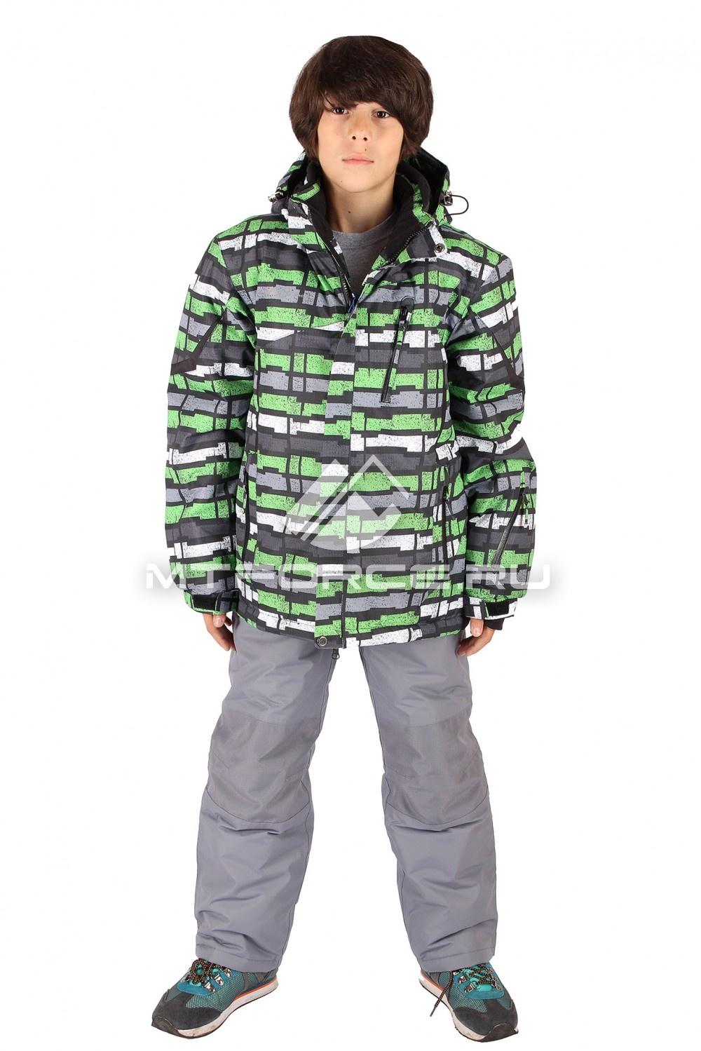 Купить оптом Костюм горнолыжный  для мальчика зеленого  цвета 421Z