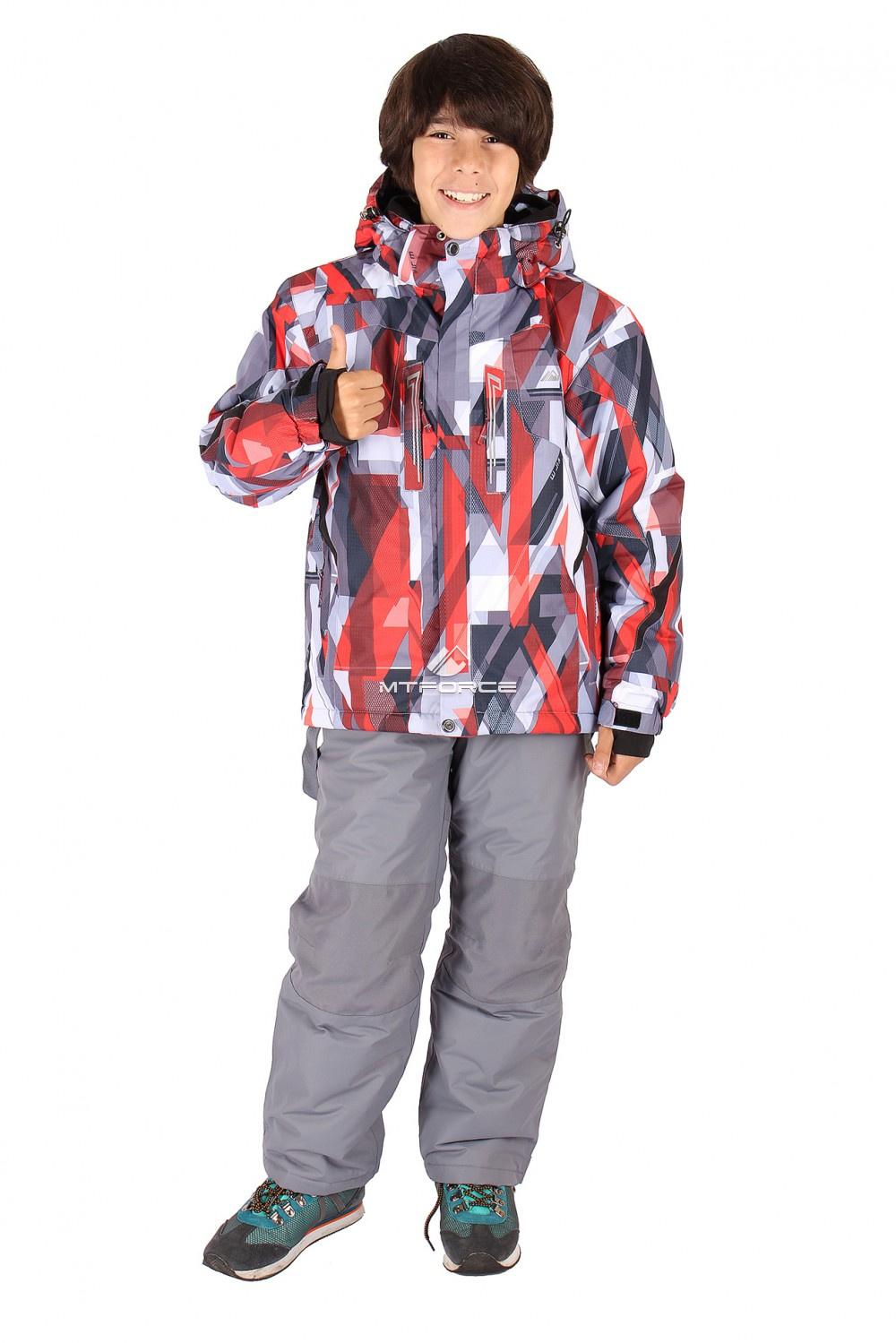 Купить оптом Костюм горнолыжный  для мальчика красного  цвета 424Kr в Ростове-на-Дону