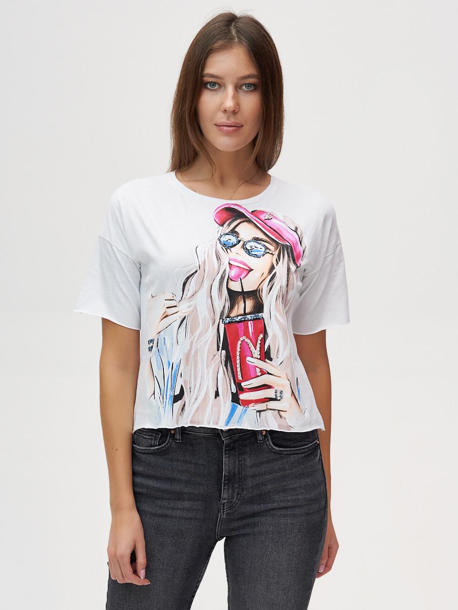 Купить оптом Топ футболка женская белого цвета 4320Bl
