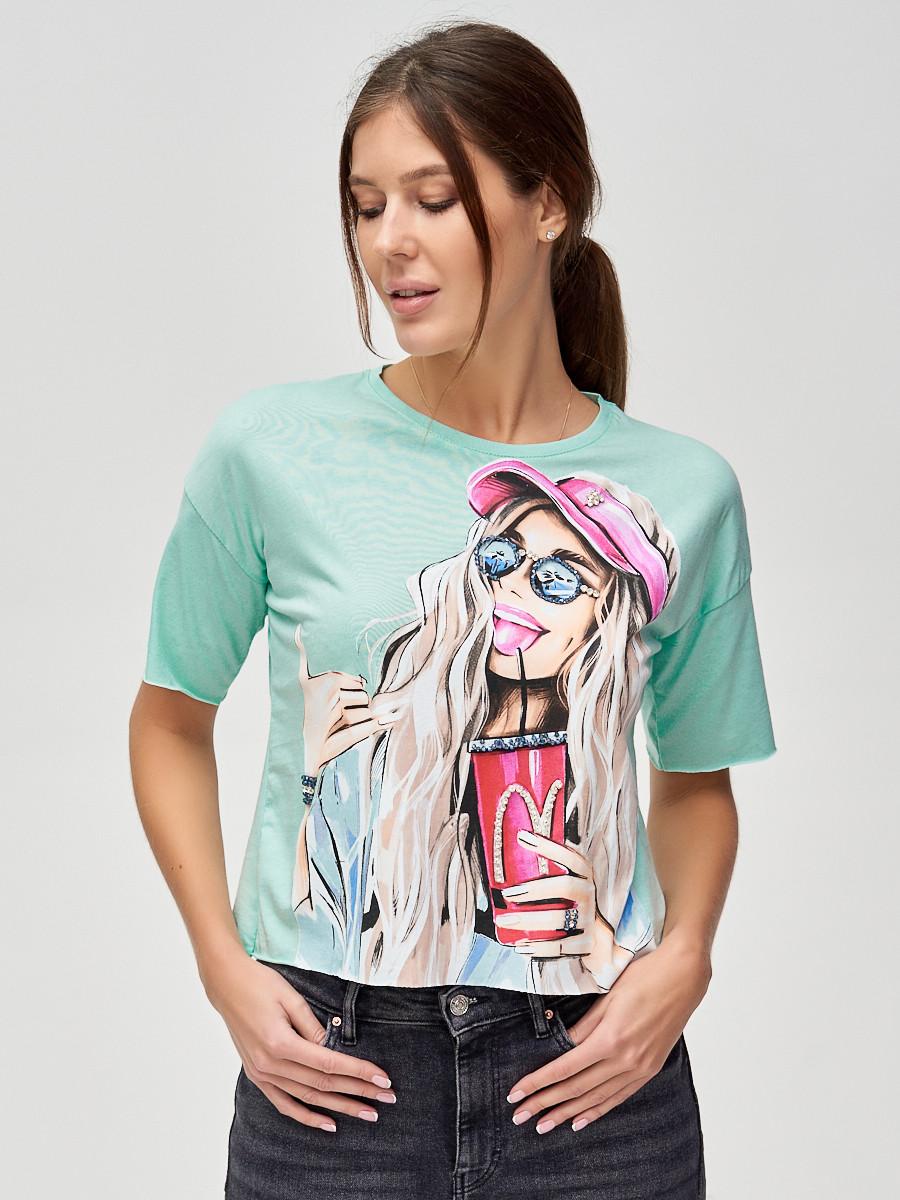 Купить оптом Топ футболка женская салатового цвета 4320Sl