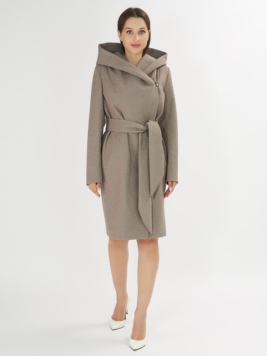Купить оптом Пальто демисезонное коричневого цвета 4470K в Екатеринбурге