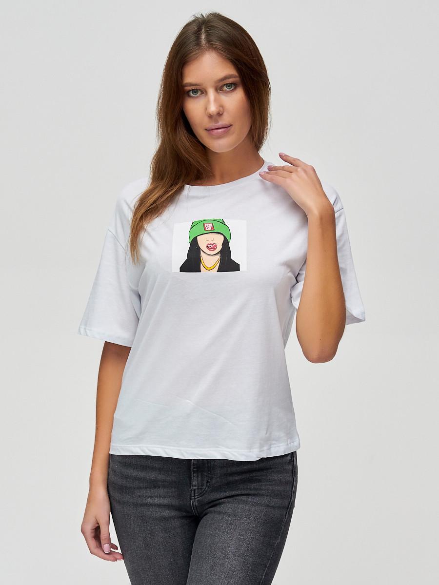 Купить оптом Женские футболки с принтом белого цвета 50003Bl в Екатеринбурге