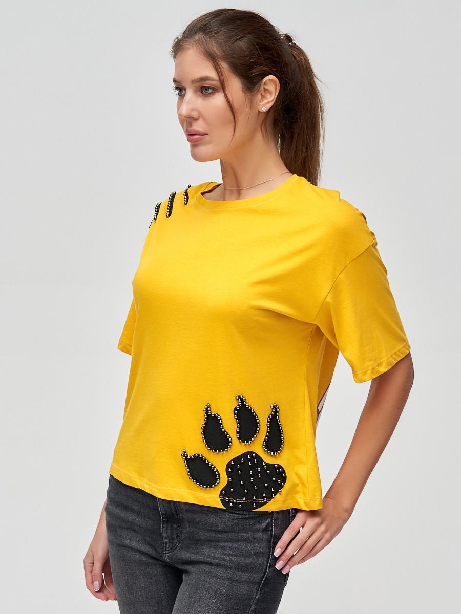 Купить оптом Женские футболки с принтом желтого цвета 50004J