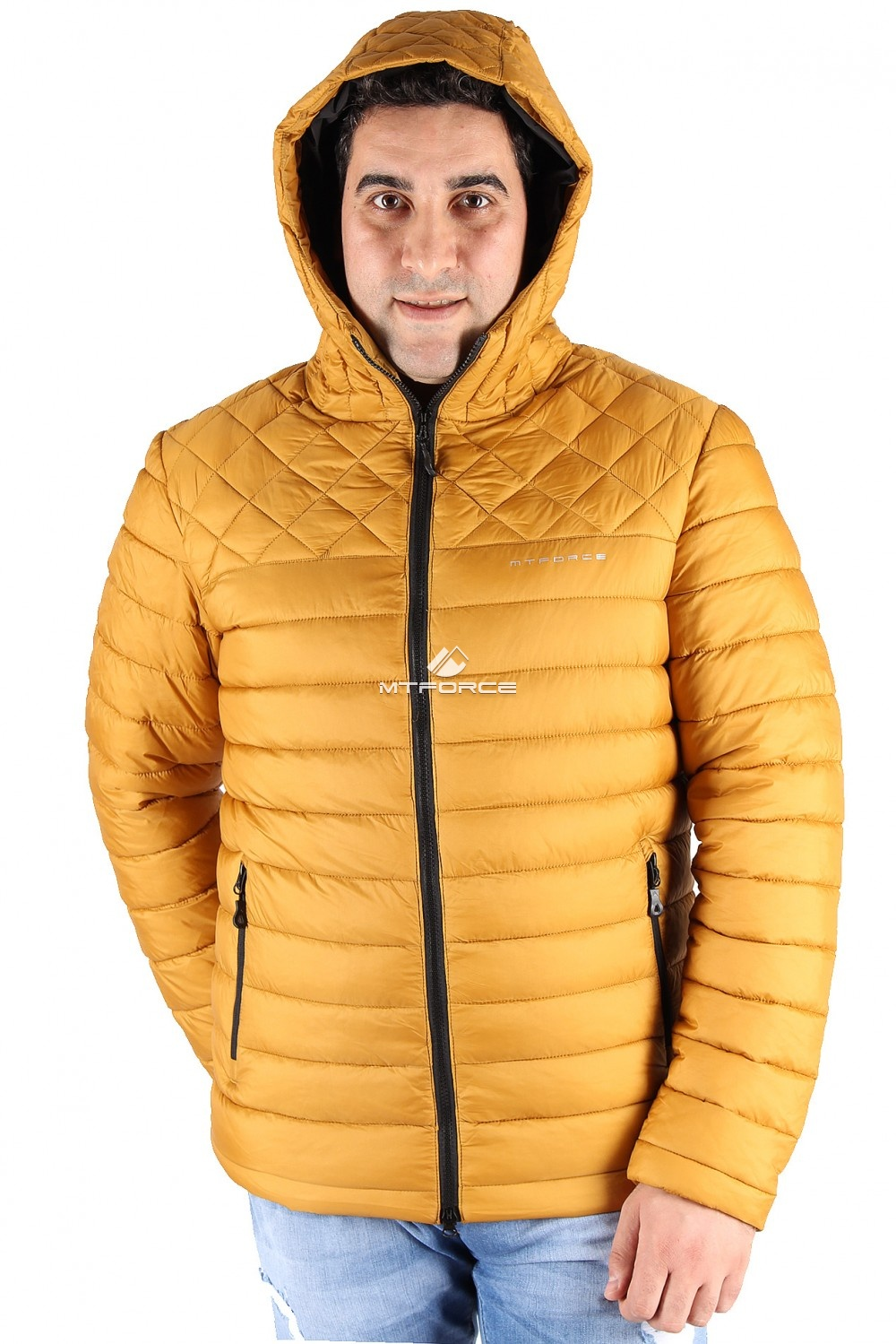 Купить оптом Куртка мужская горчичного цвета 1618G в Санкт-Петербурге