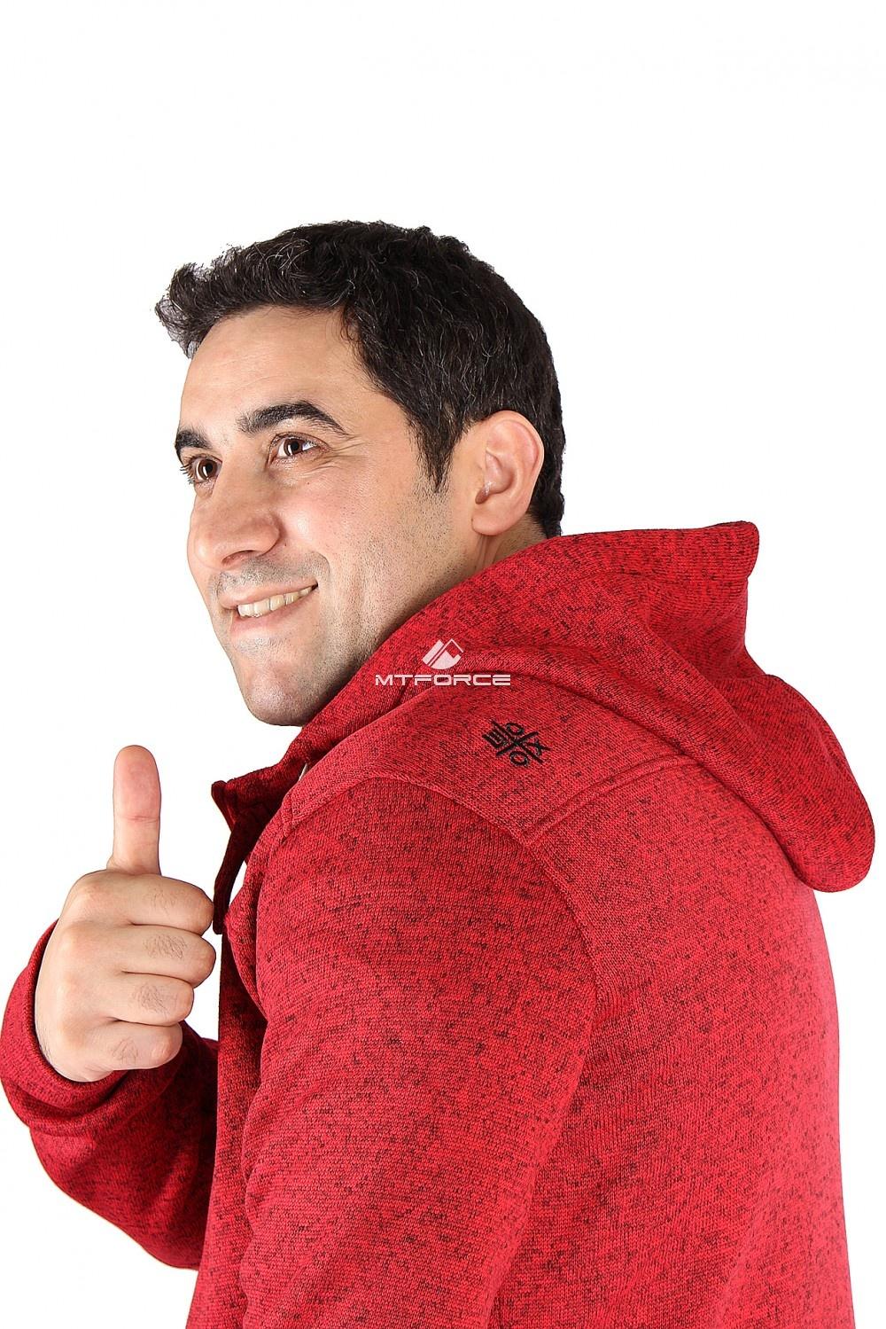 Купить оптом Толстовка мужская утепленной вязки красного цвета 537Kr в Сочи