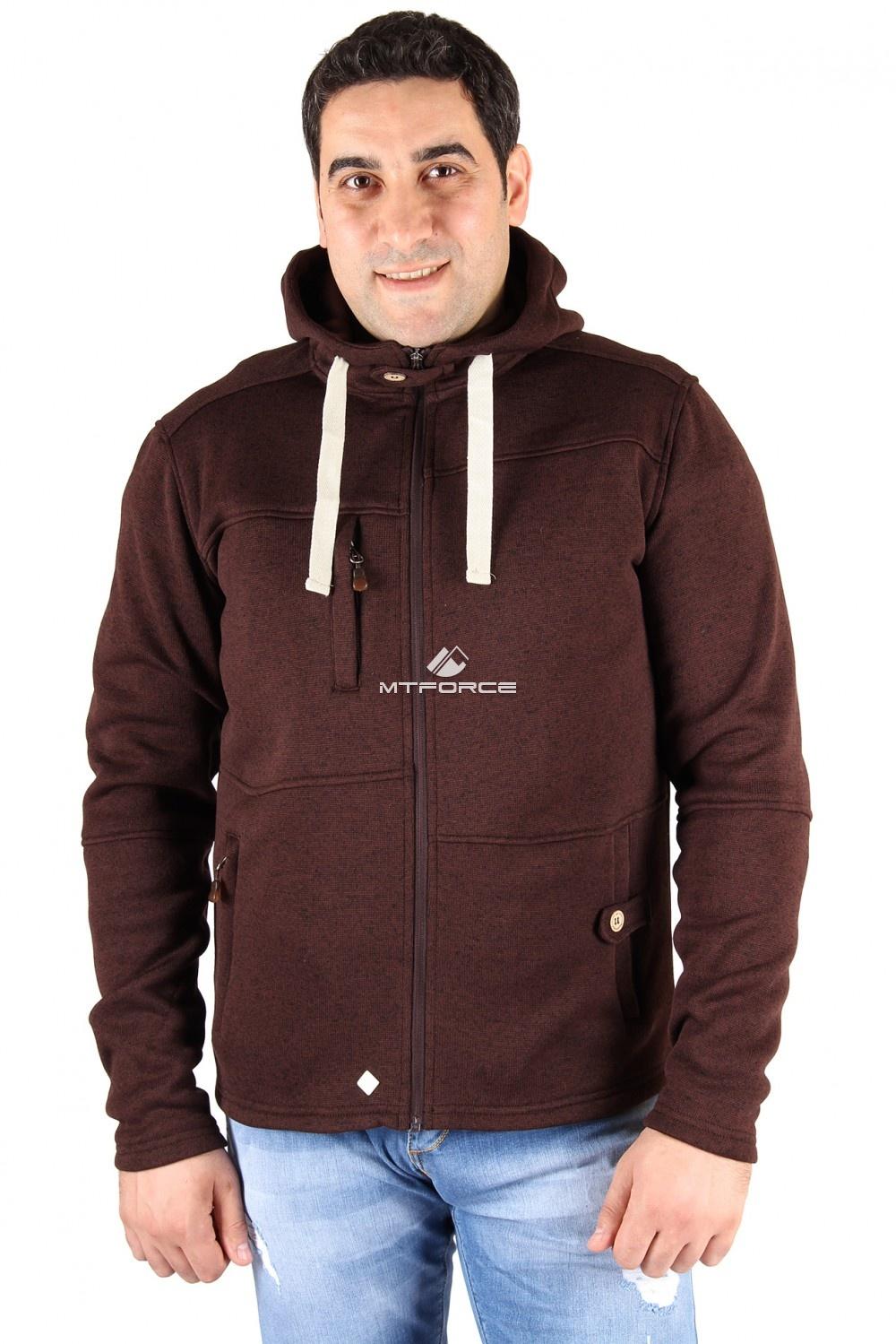 Купить оптом Толстовка мужская утепленной вязки коричневого цвета 537K в Новосибирске