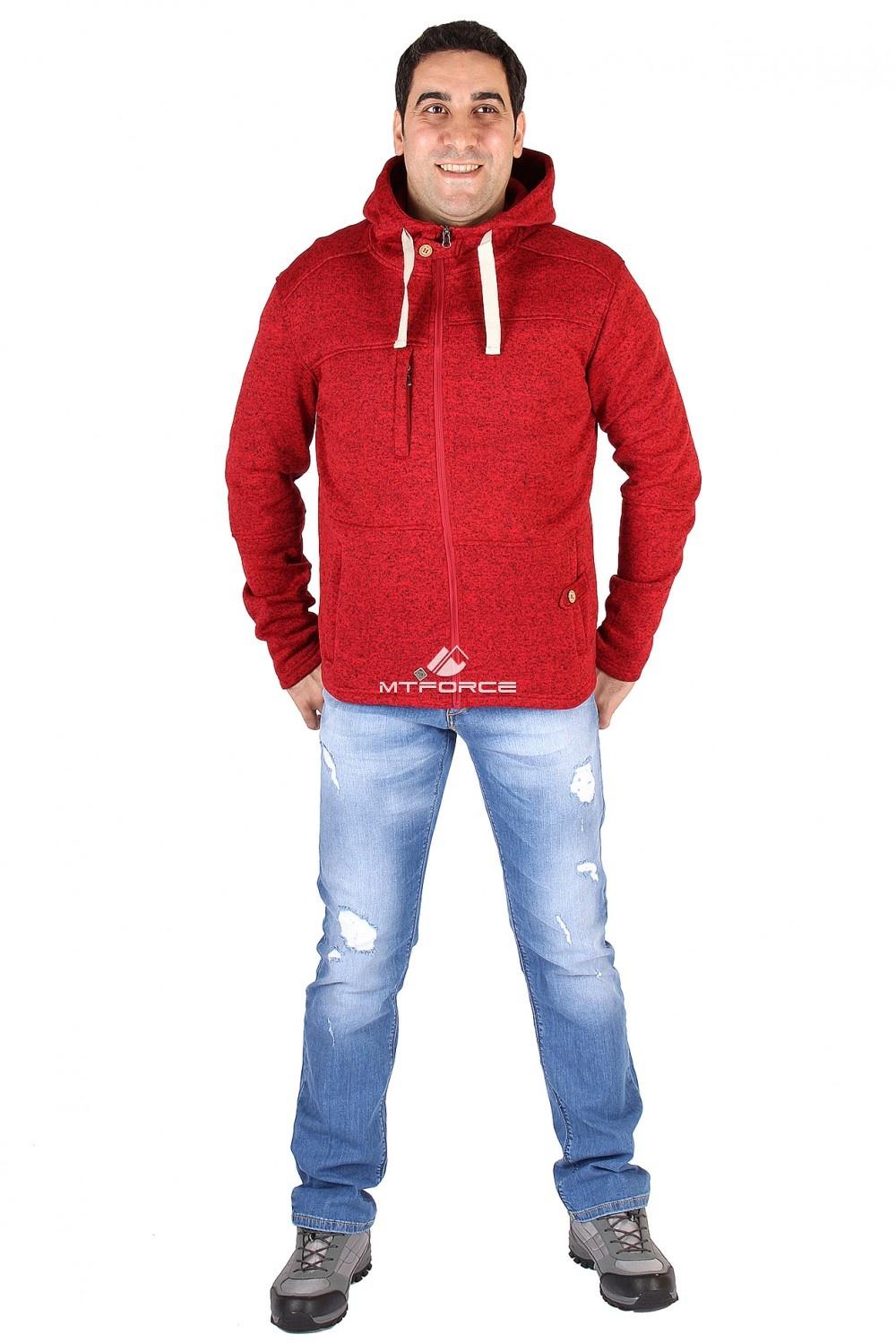 Купить оптом Толстовка мужская утепленной вязки красного цвета 537Kr в  Красноярске