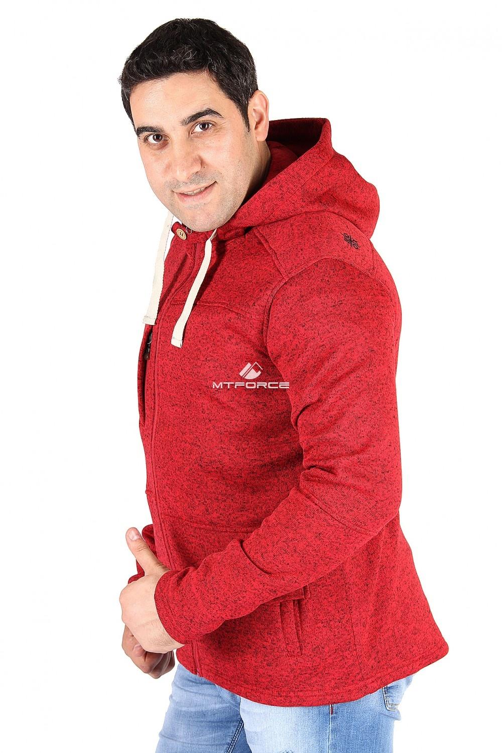 Купить оптом Толстовка мужская утепленной вязки красного цвета 537Kr в Омске