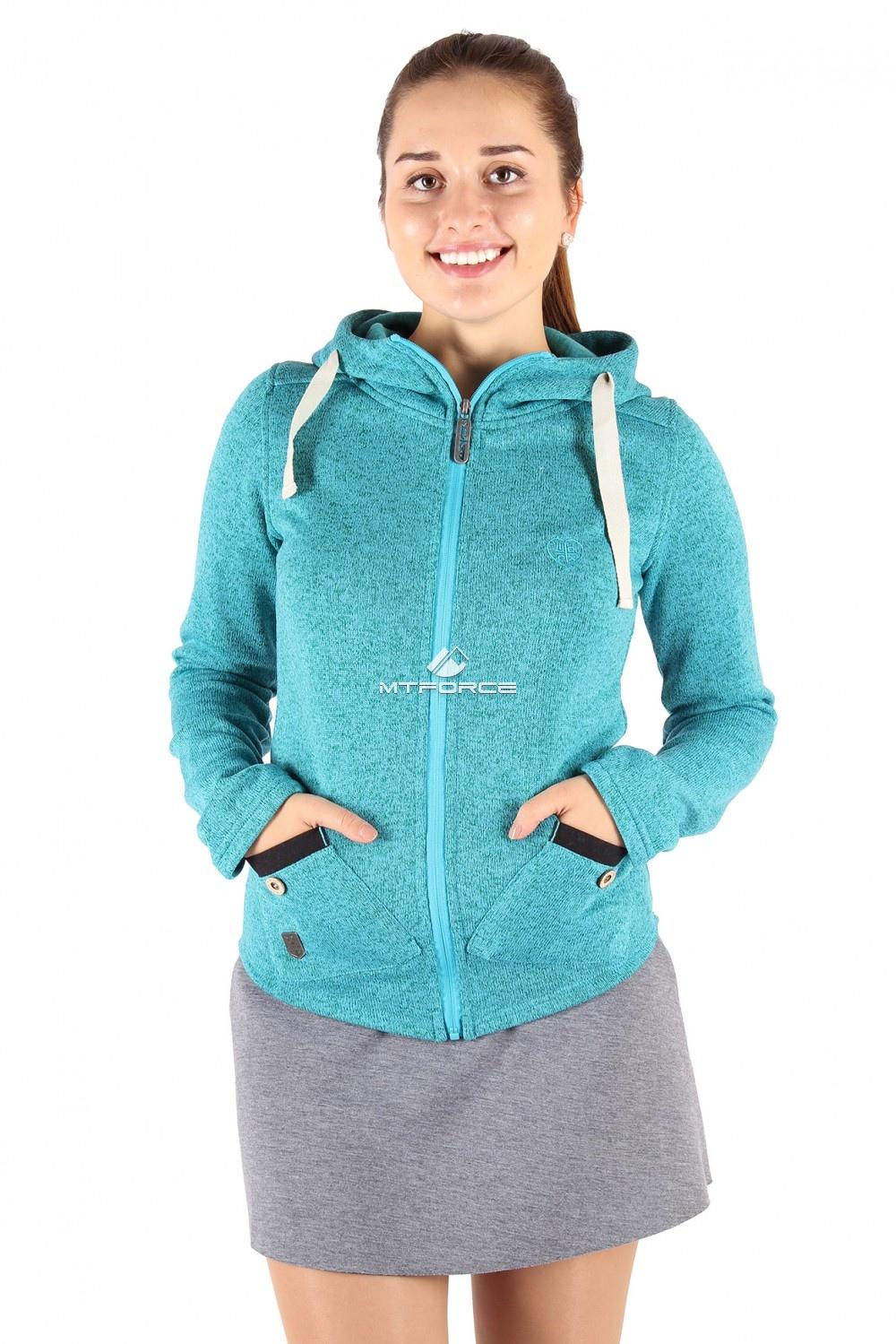 Купить                                  оптом Толстовка женская утепленной вязки голубого цвета 544Gl