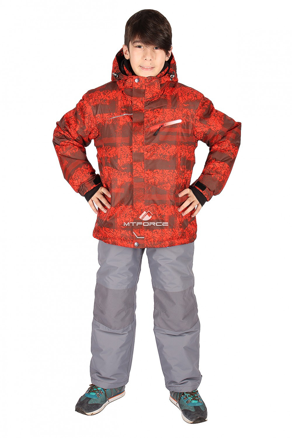 Купить оптом Костюм горнолыжный  для мальчика оранжевого цвета 545-1O