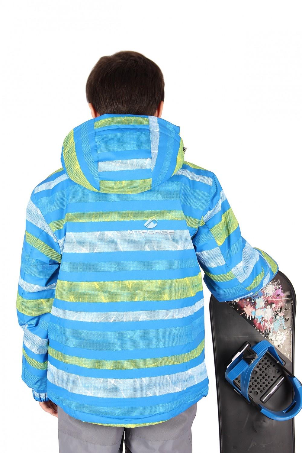 Купить оптом Куртка горнолыжная подростковая для мальчика голубого цвета 547-1Gl в Волгоградке