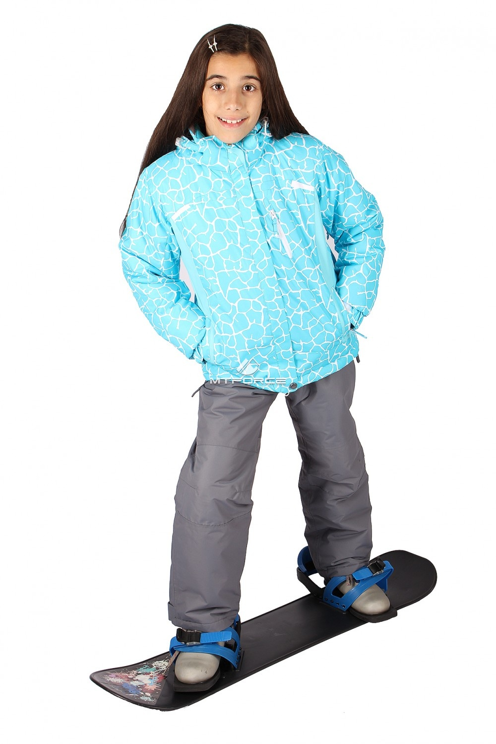 Купить                                  оптом Костюм горнолыжный  для девочки голубого цвета 548Gl