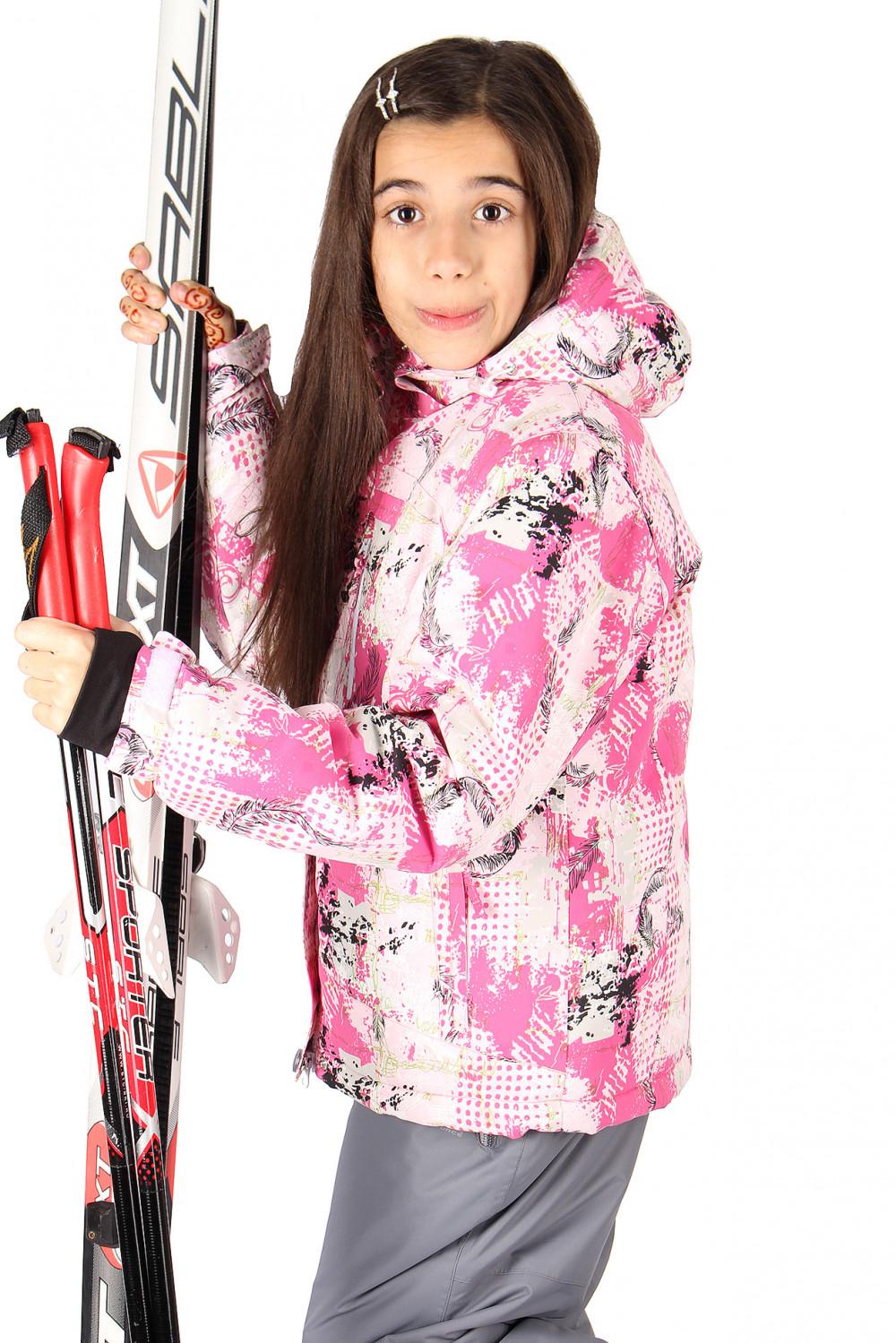 Купить  оптом Куртка горнолыжная подростковая для девочки бежевого цвета 548-1B