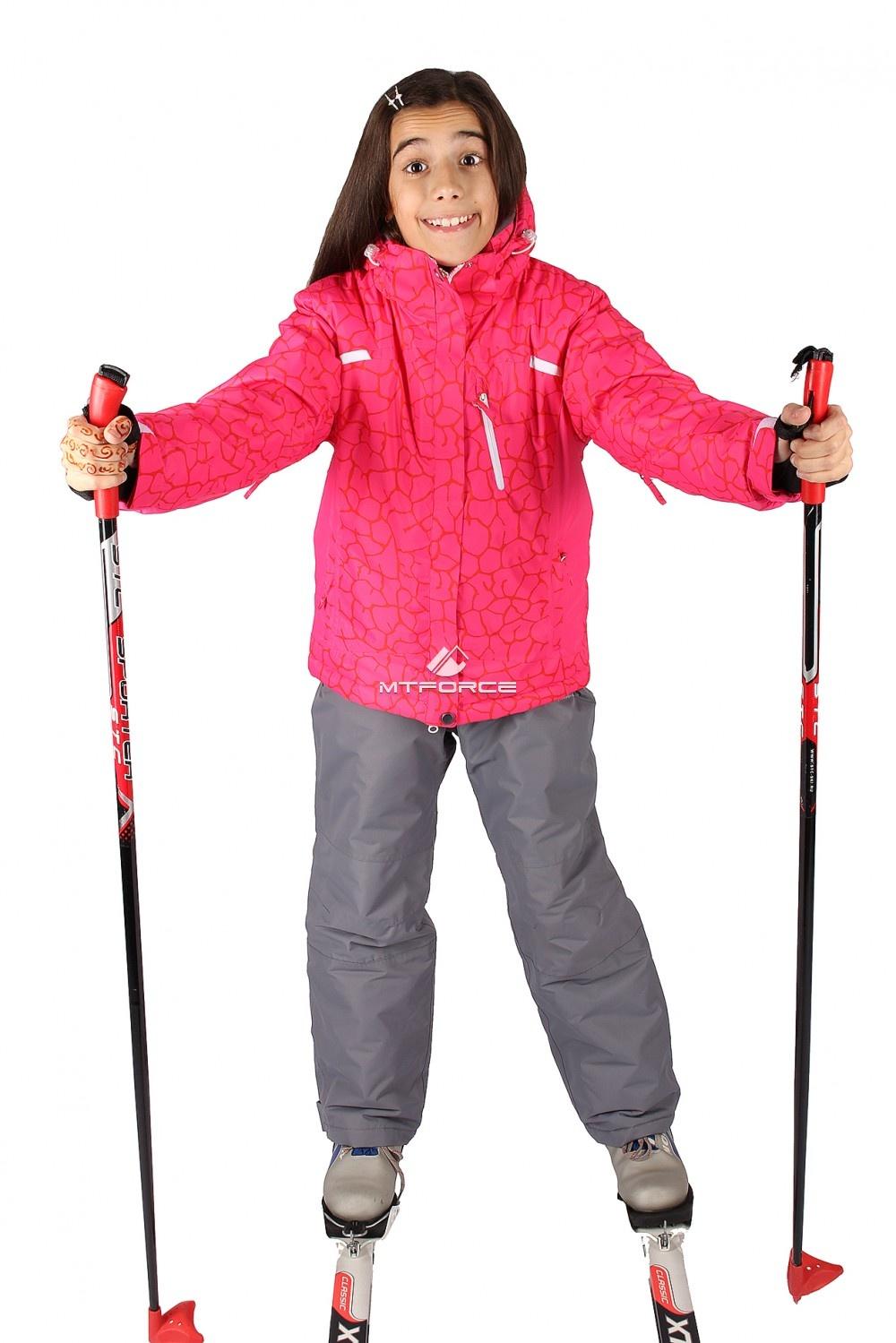 Купить оптом Костюм горнолыжный  для девочки красного цвета 548Kr
