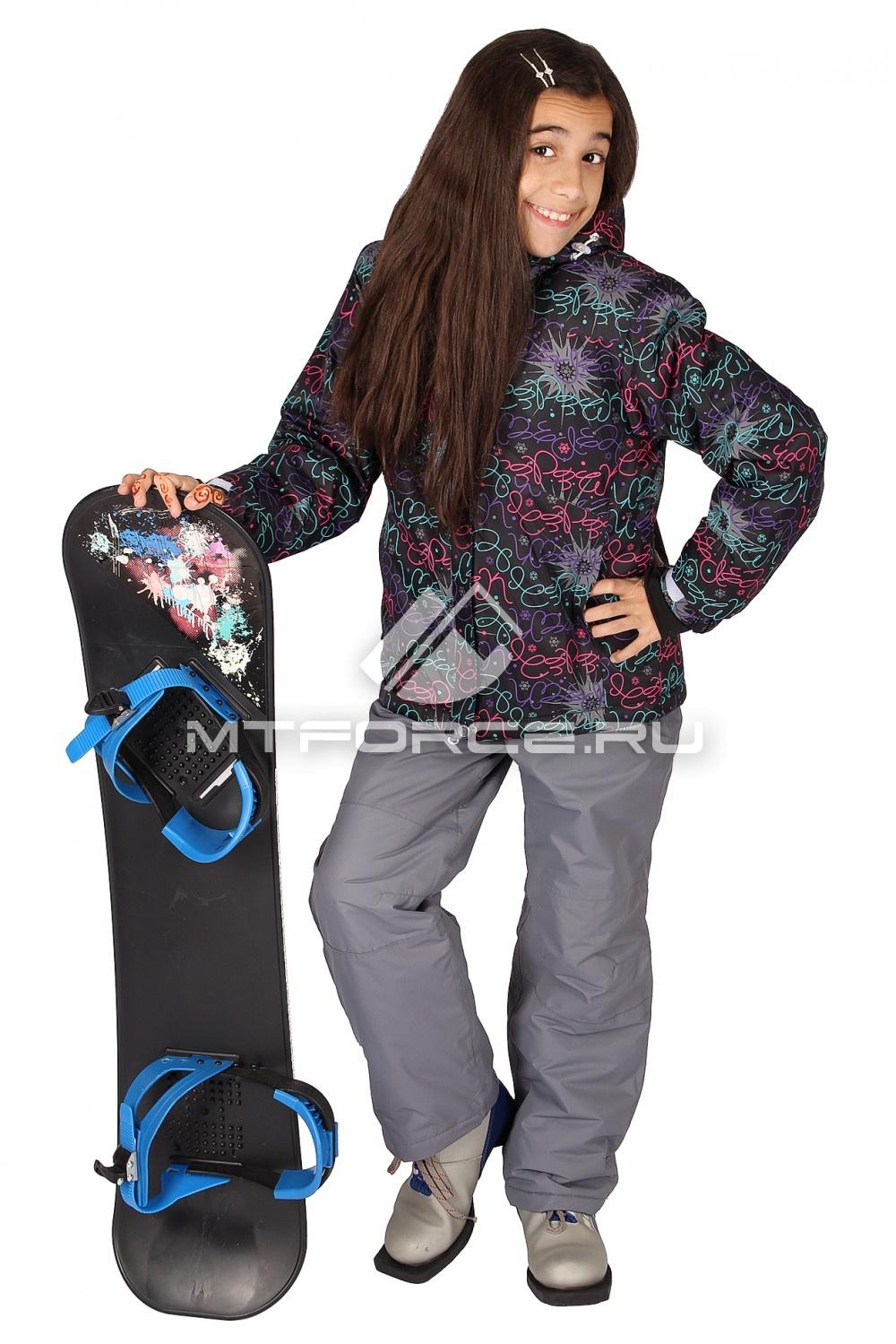 Купить                                  оптом Костюм горнолыжный  для девочки черного цвета 549Ch